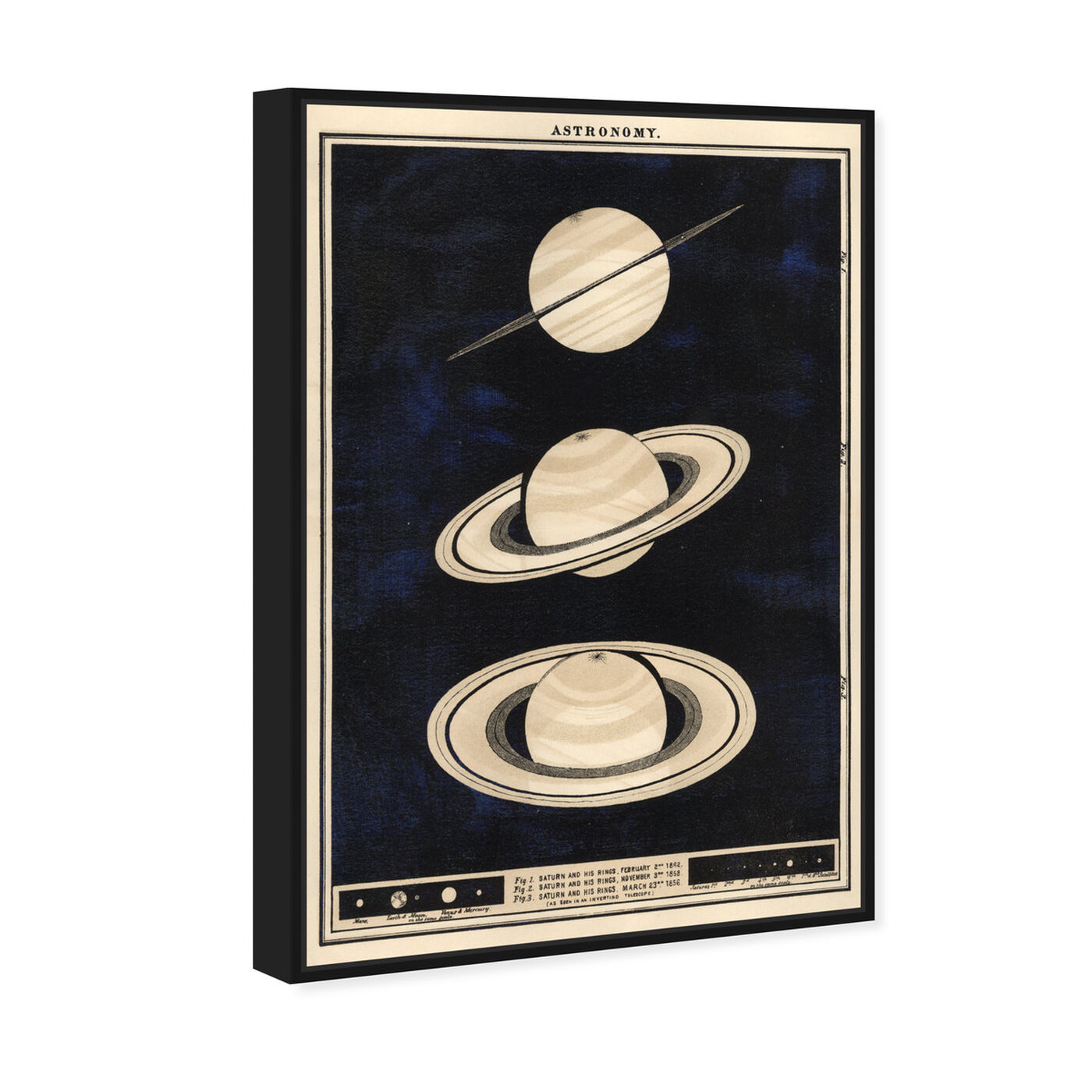 Angled view of Three Perspectives of Saturn in 1862 featuring astronomy and space and planets art.