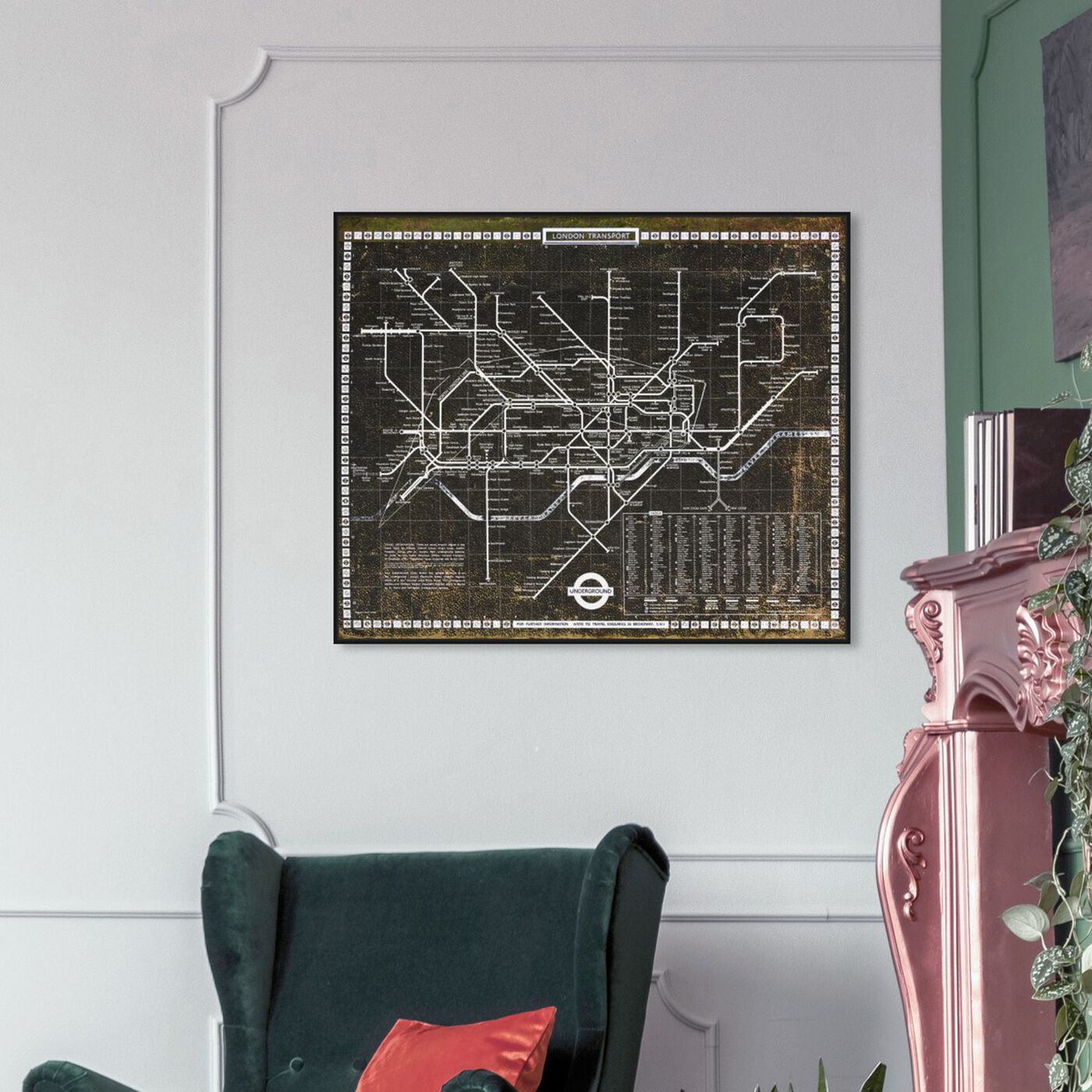 Hanging view of London Tube 1972 featuring maps and flags and european cities flags art.