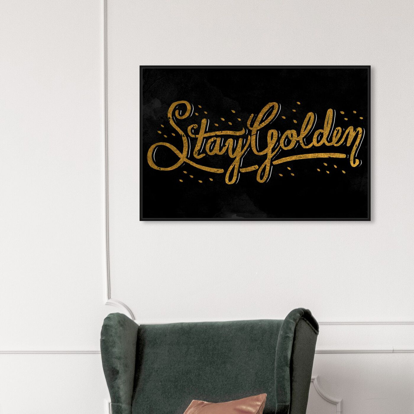 Hanging view of Stay Golden II featuring typography and quotes and beauty quotes and sayings art.