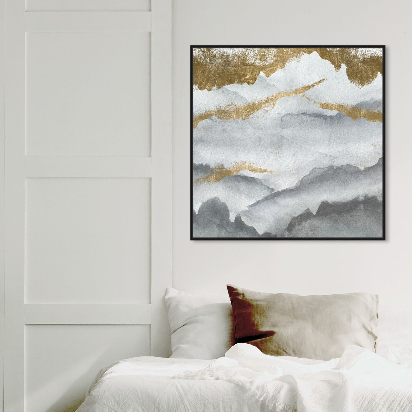 Hanging view of Tibet Mountains featuring abstract and watercolor art.