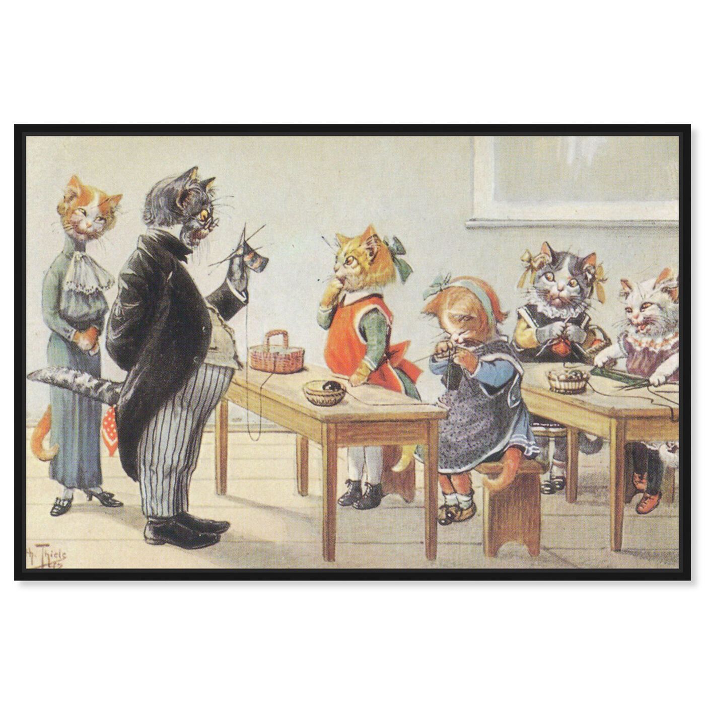 Front view of Kittens in the Classroom featuring animals and cats and kitties art.