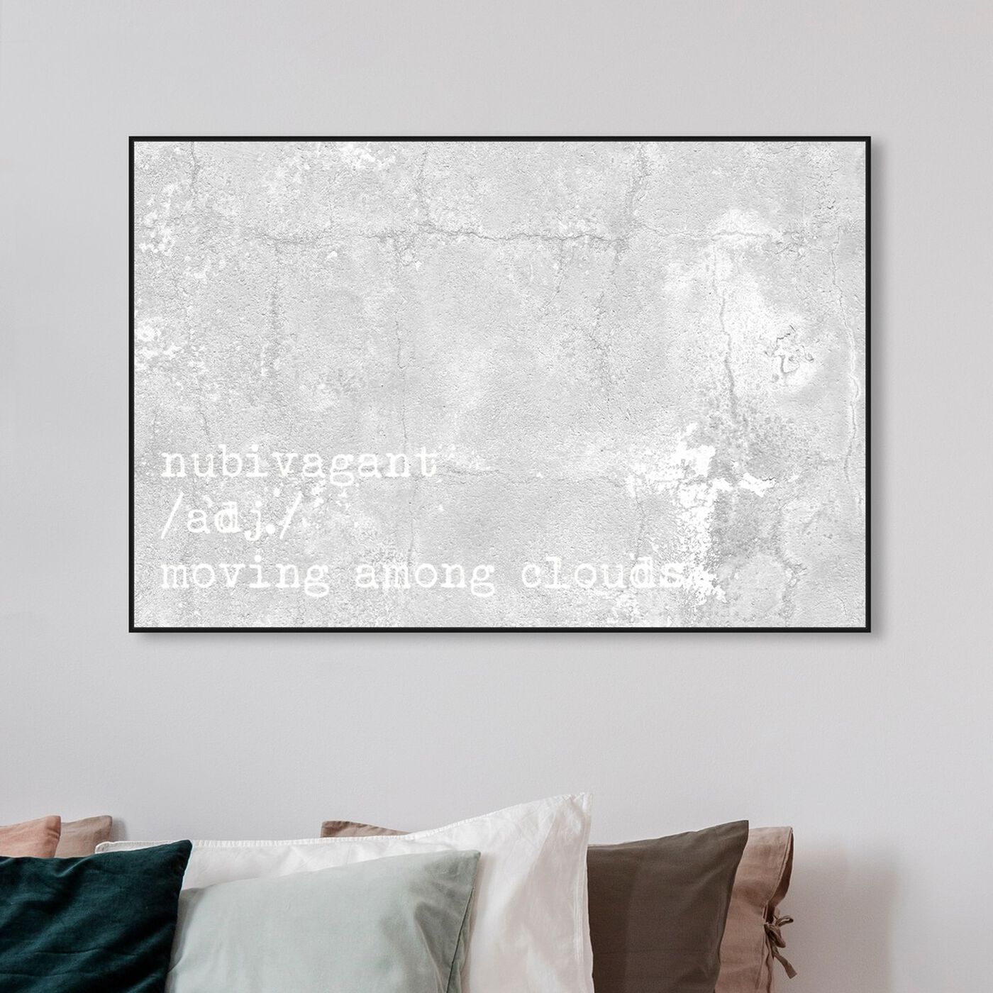 Hanging view of Moving Among Clouds featuring typography and quotes and quotes and sayings art.