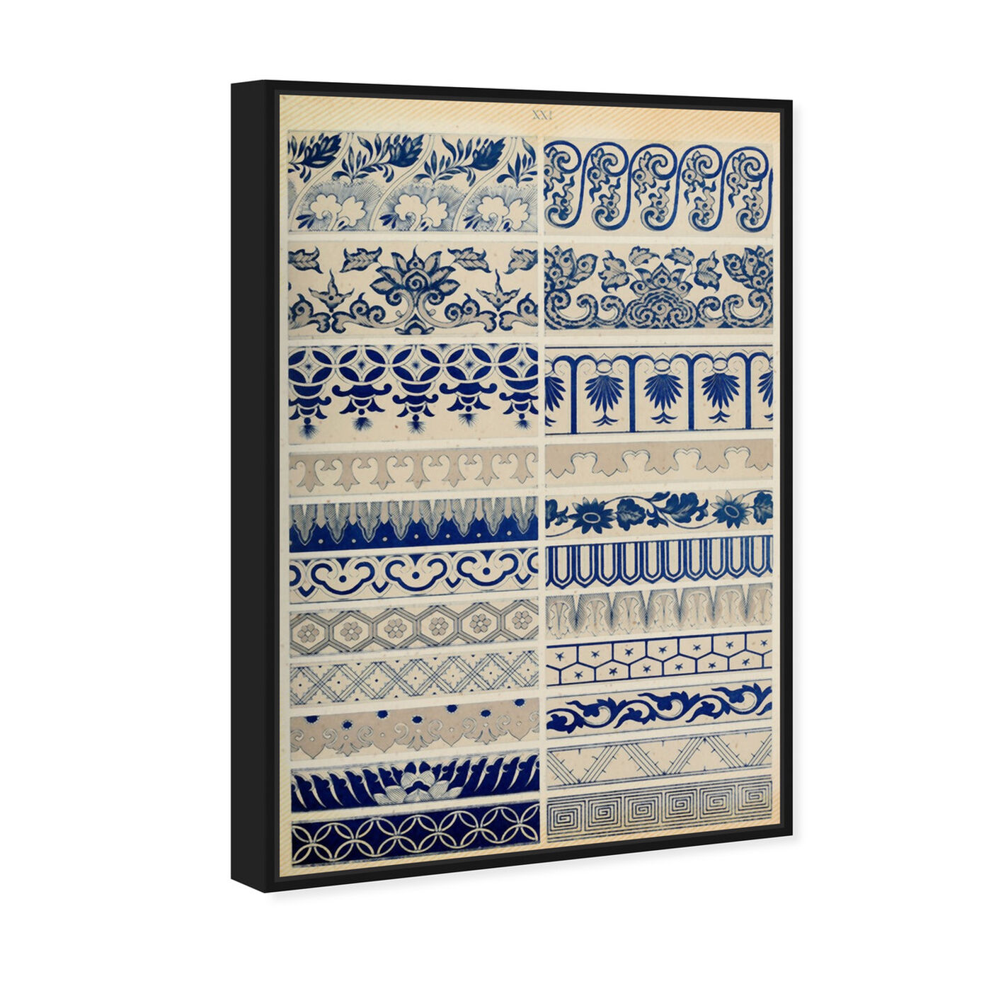 Angled view of Ornaments 1867 Plate XXI featuring abstract and patterns art.
