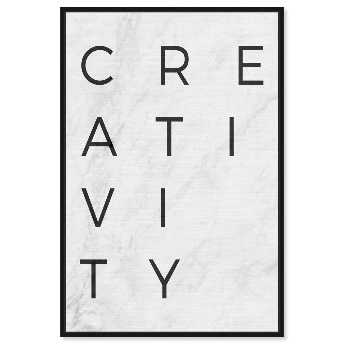 Front view of Creativity Minimalist Marble Paper featuring typography and quotes and motivational quotes and sayings art.