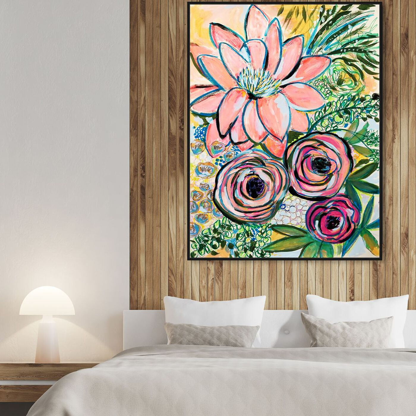 Hanging view of Rosalina - Peonies Party of Two featuring floral and botanical and florals art.