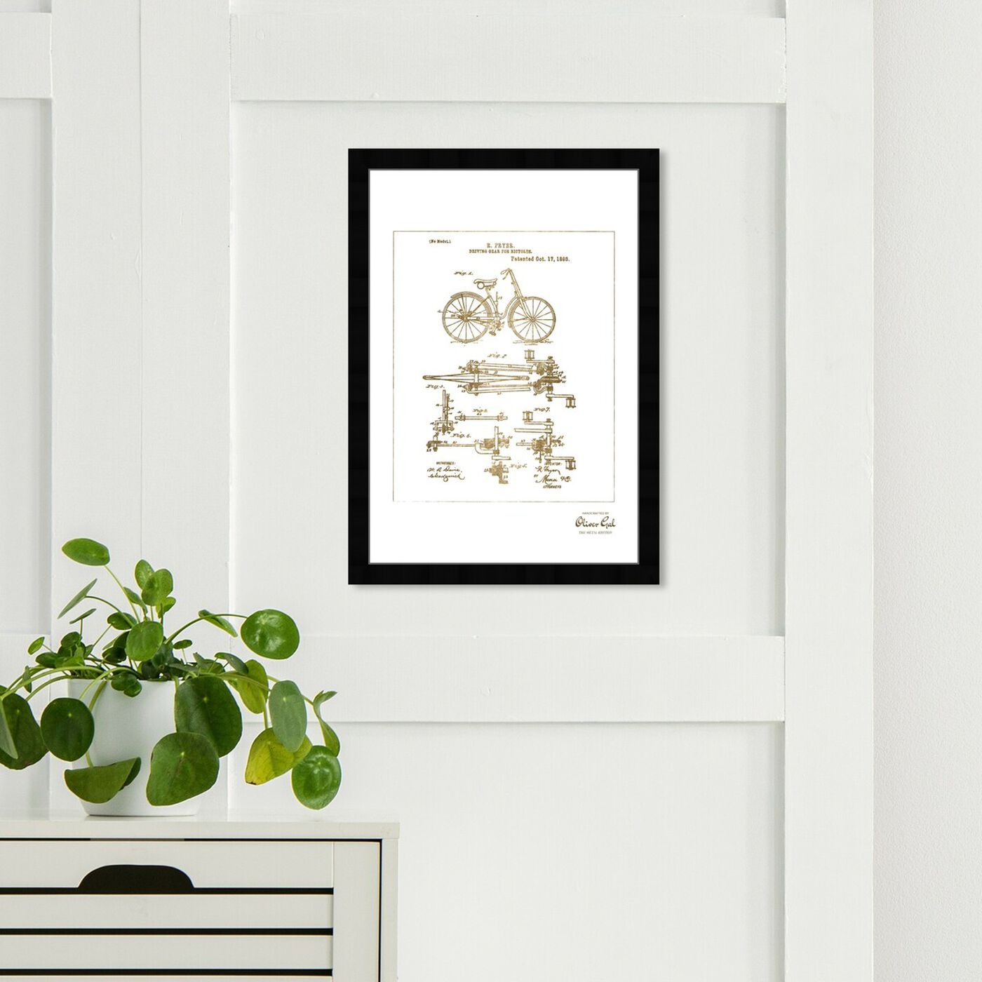 Hanging view of Fryer Driving Gear for Bicycle 1893 Gold featuring transportation and bicycles art.