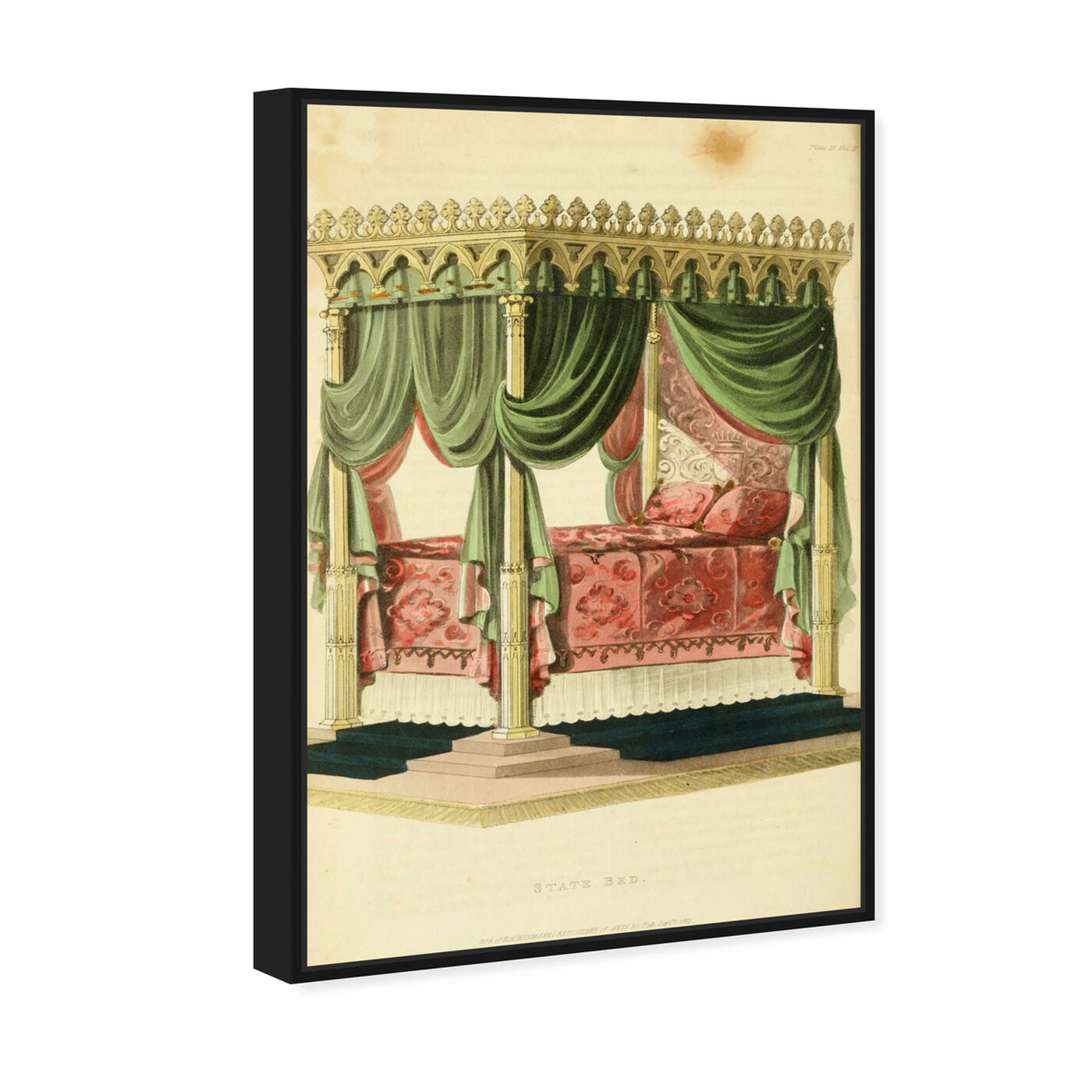 Angled view of State Bed - The Art Cabinet featuring classic and figurative and french décor art.