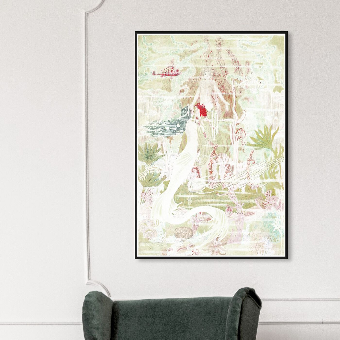 Hanging view of Little Mermaid Original featuring fantasy and sci-fi and fantasy creatures art.