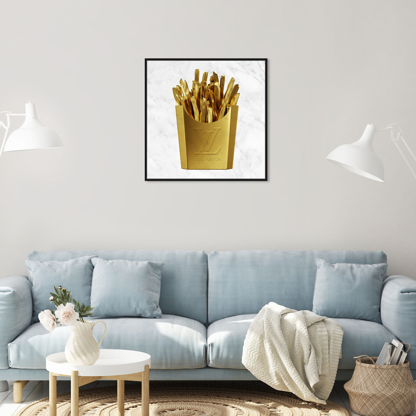 Hanging view of Designer Fries featuring fashion and glam and lifestyle art.