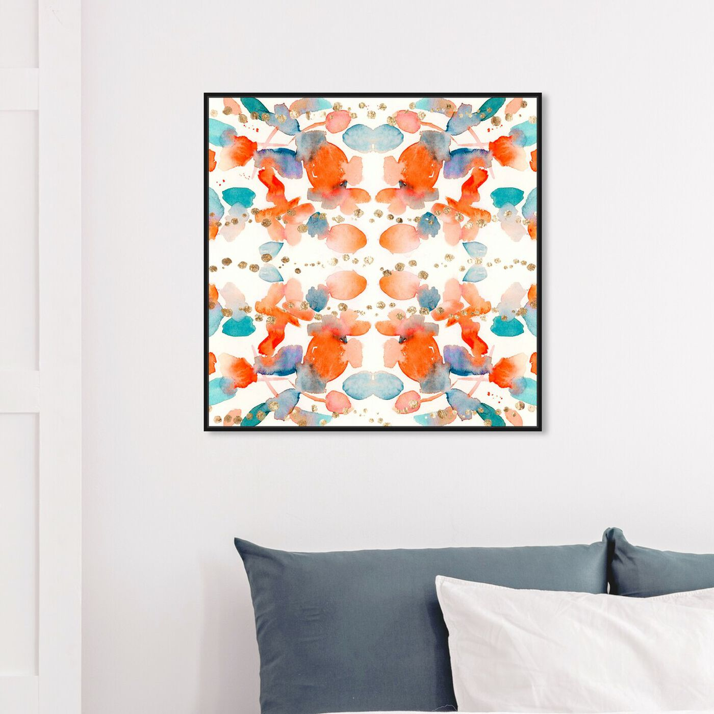 Hanging view of Passion Gold featuring abstract and watercolor art.