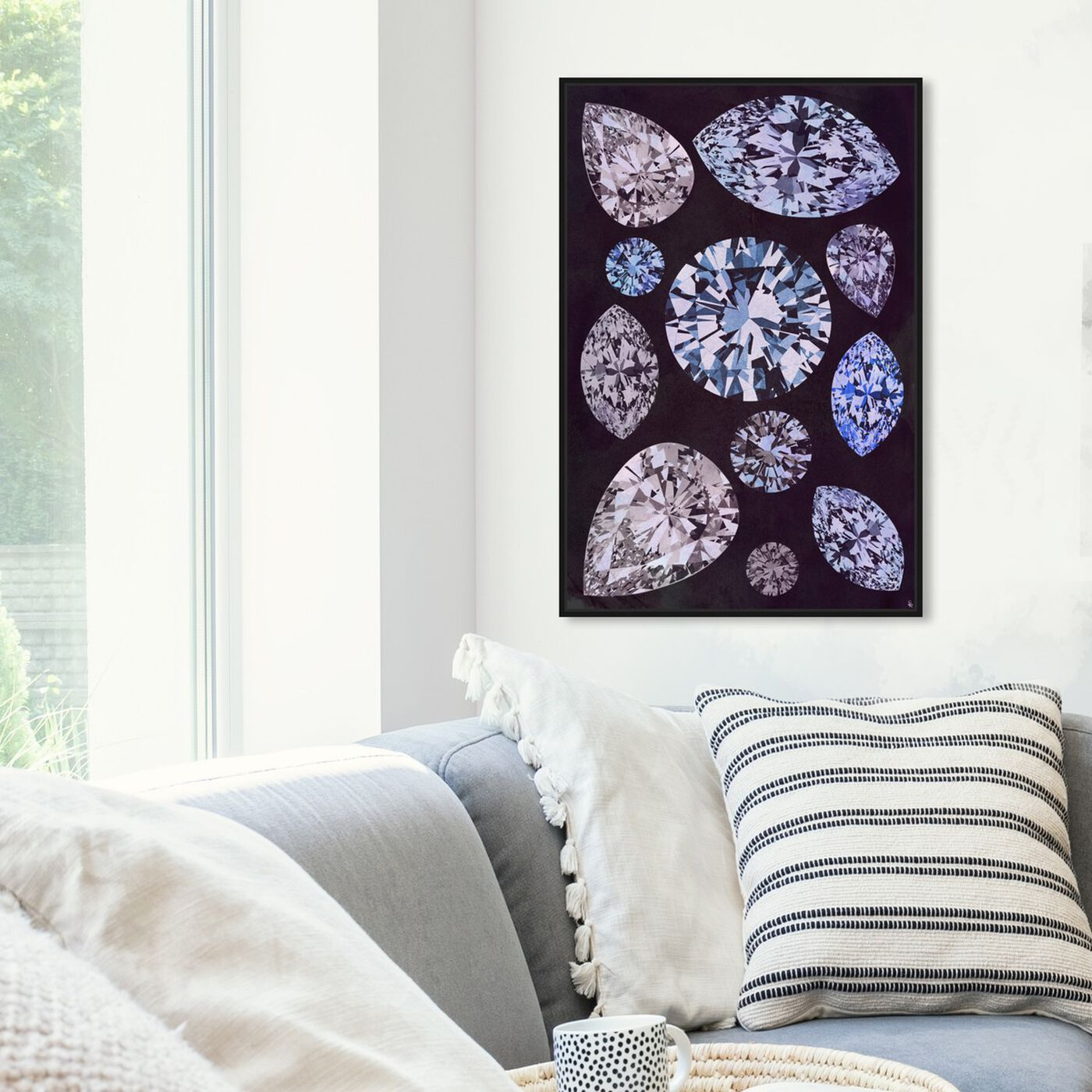 Hanging view of Violet Stones featuring abstract and crystals art.