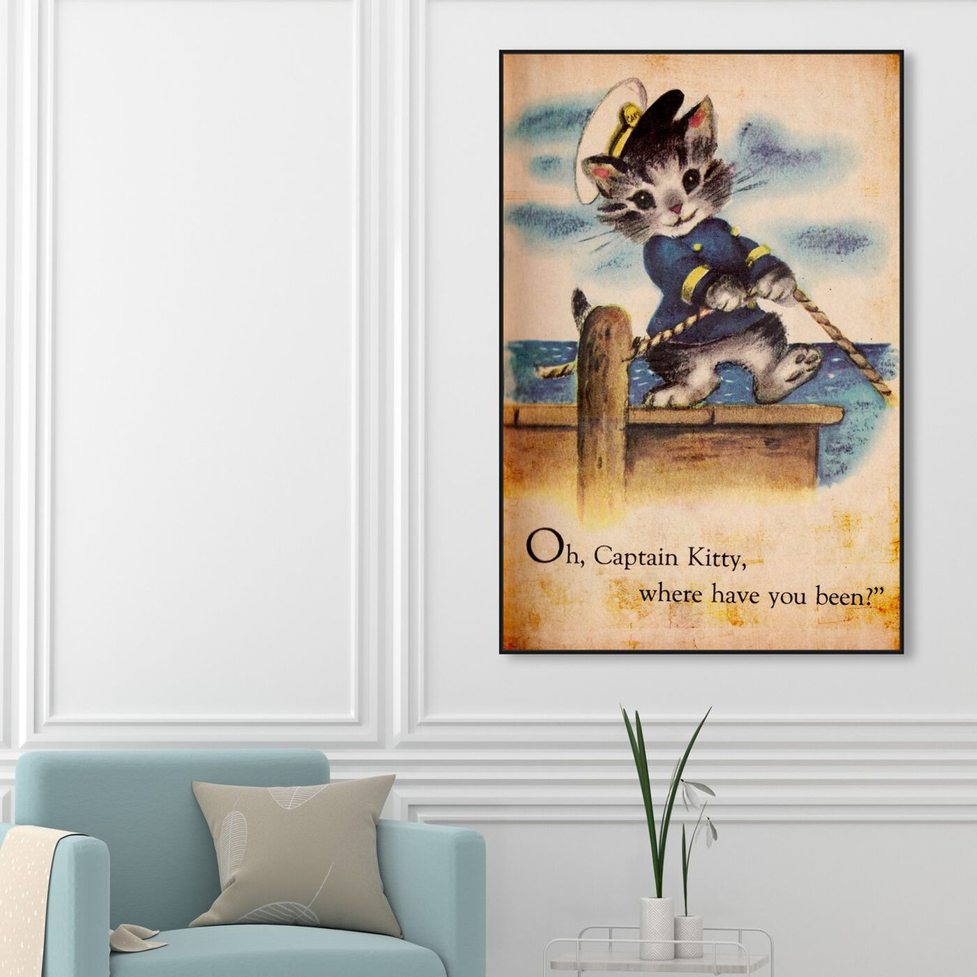 Hanging view of Captain Kitty featuring animals and cats and kitties art.