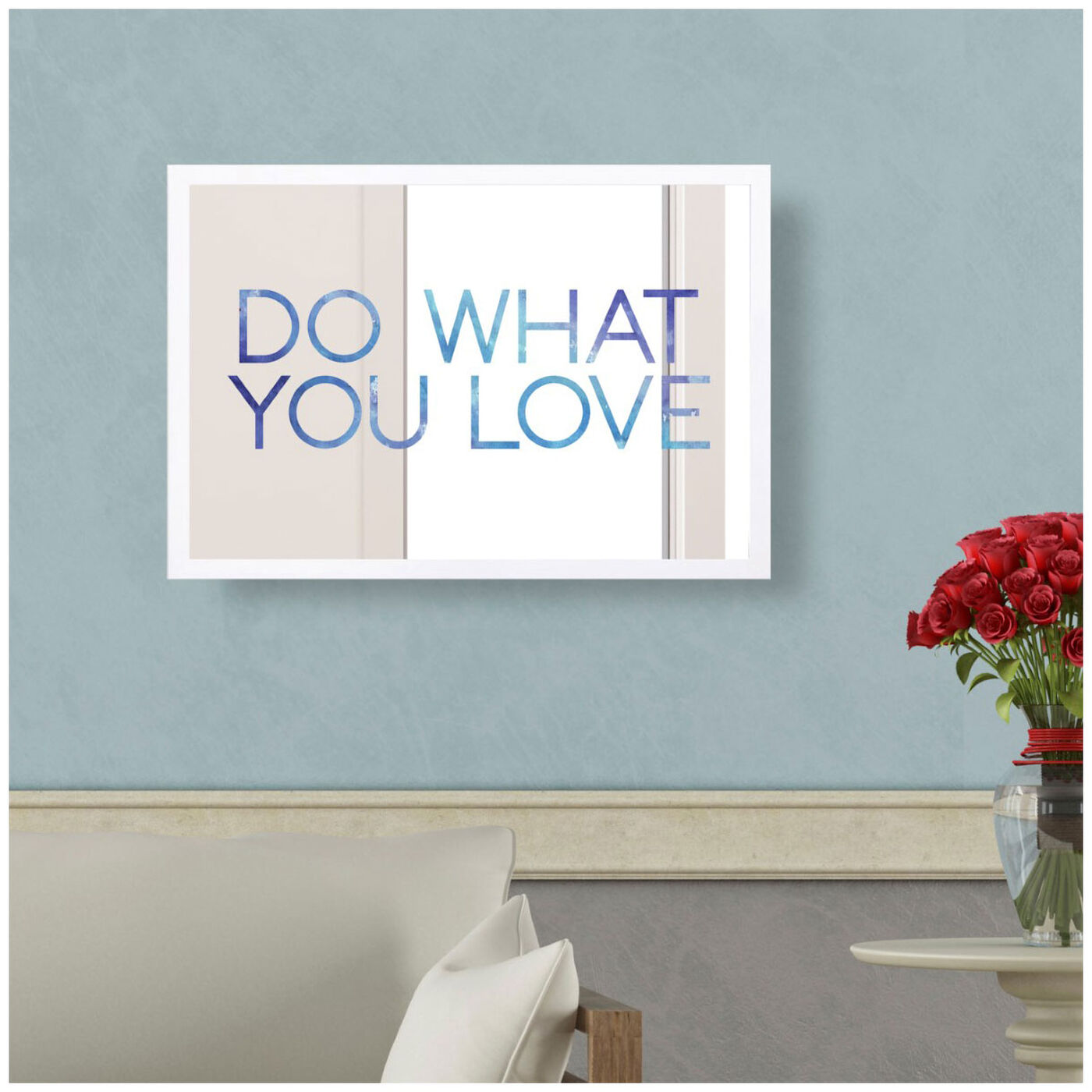 Hanging view of Do What You Love featuring typography and quotes and love quotes and sayings art.