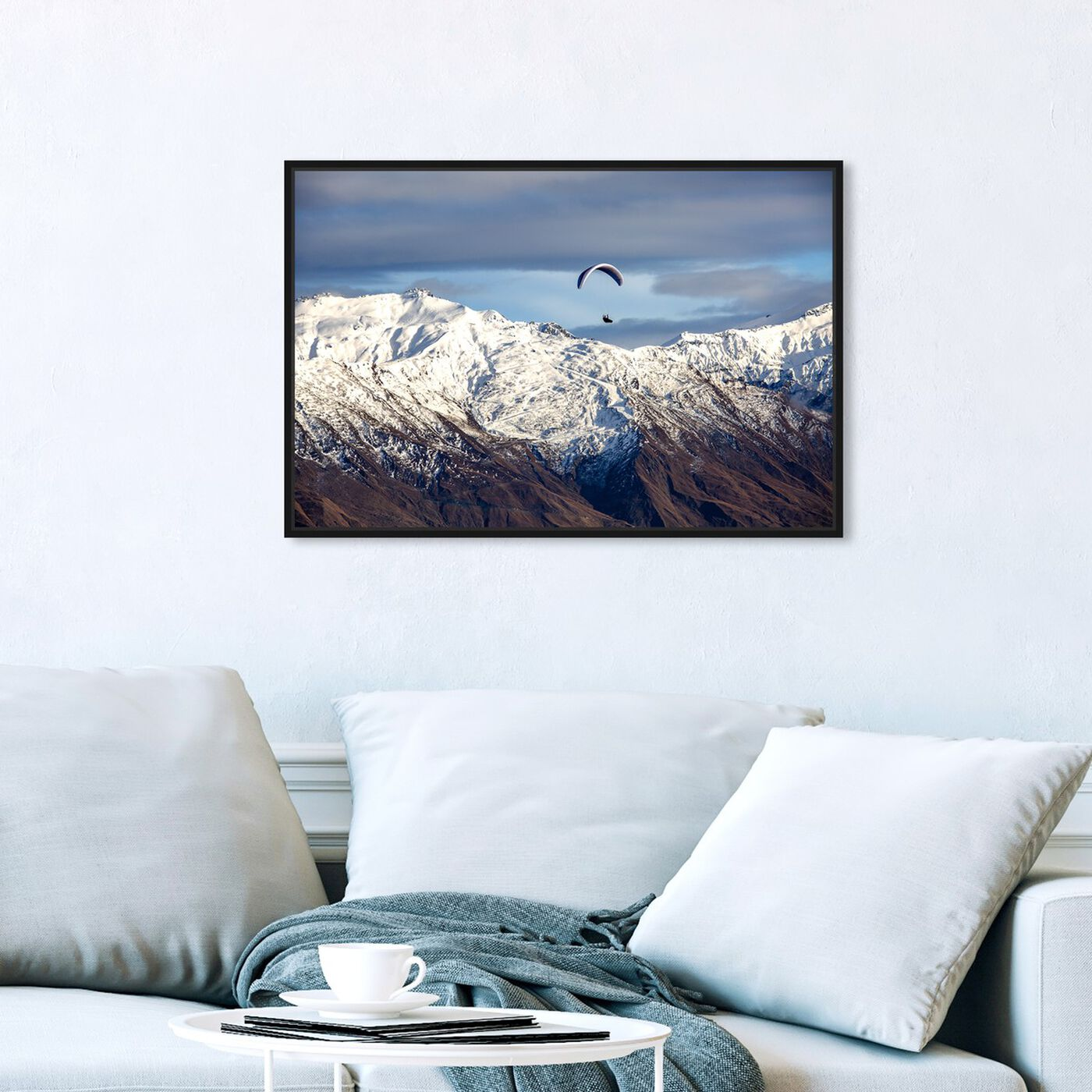 Hanging view of Curro Cardenal - Paragliding Free featuring nature and landscape and mountains art.