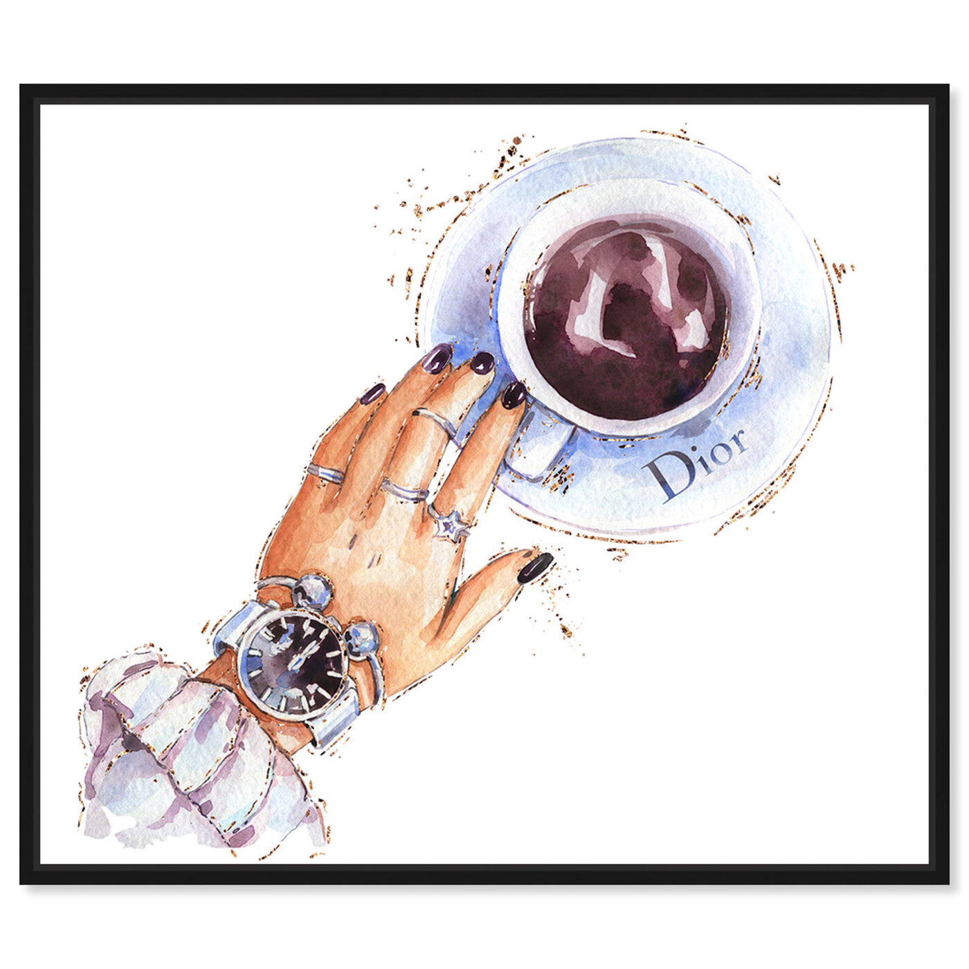 Front view of Silver Watch and Chocolate featuring fashion and glam and accessories art.