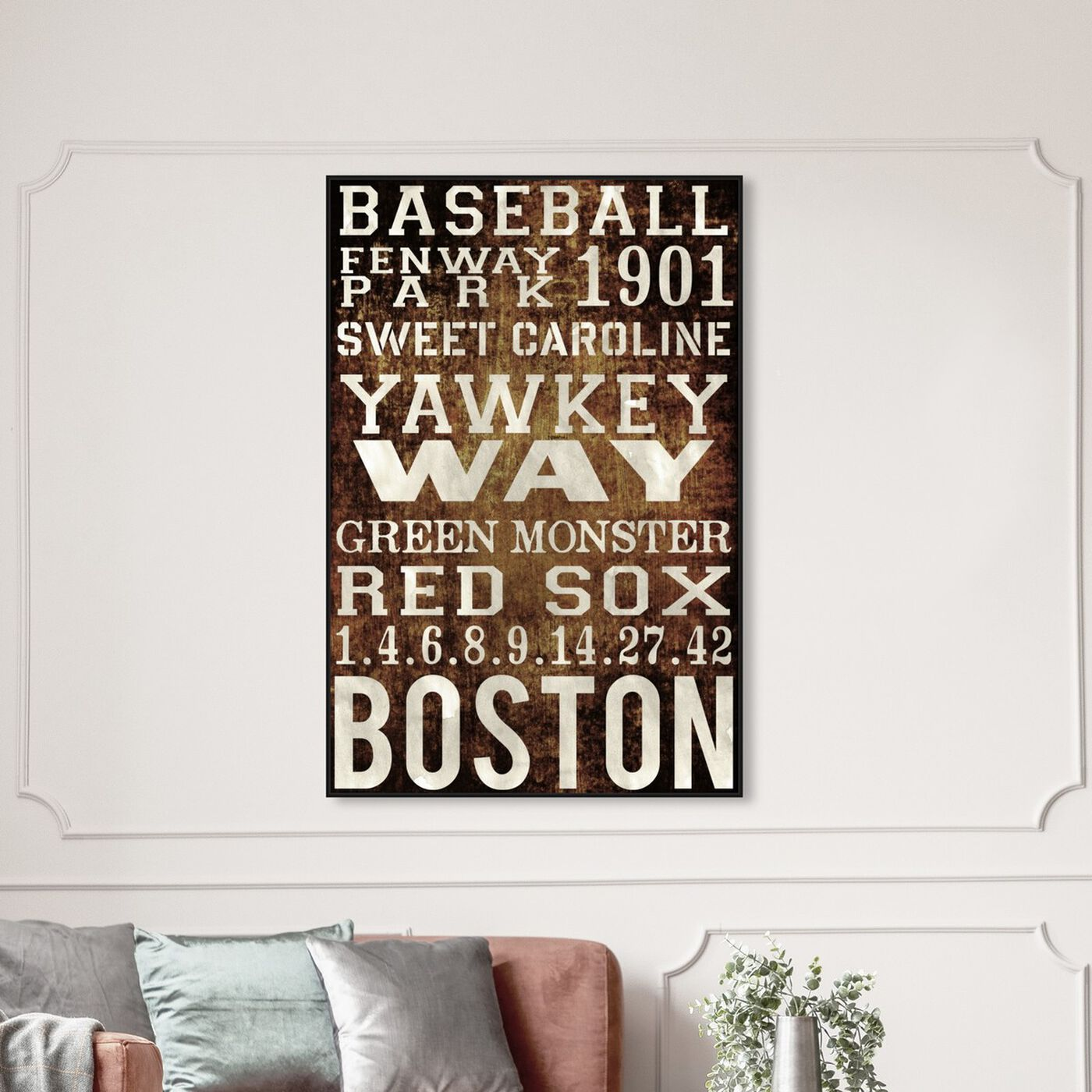 Hanging view of Boston Red Sox featuring advertising and publications art.