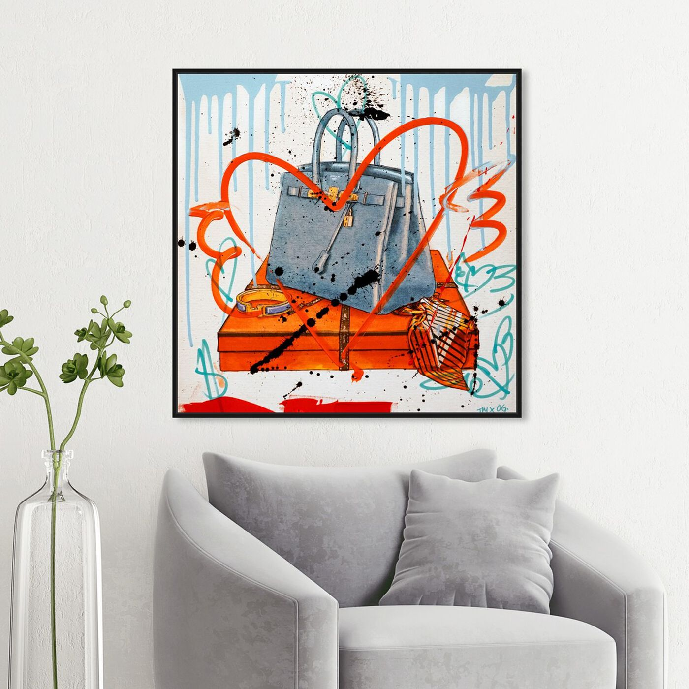 Hanging view of My Blue Bag Remix II featuring fashion and glam and handbags art.