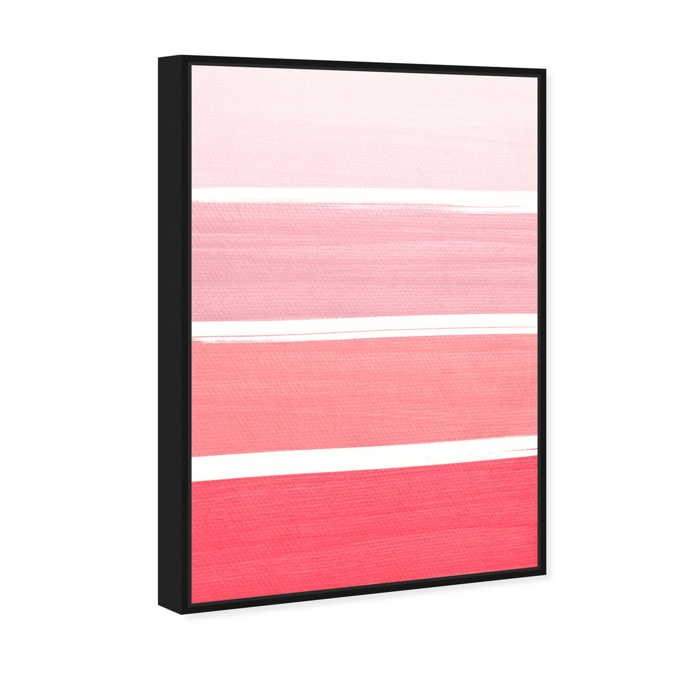 Angled view of The Right Shade of Pink featuring abstract and geometric art.