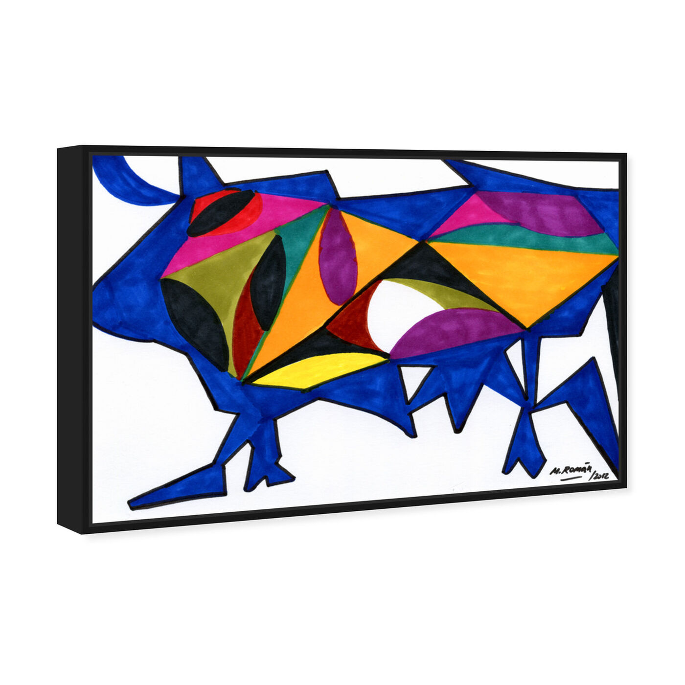 Angled view of Bull Sunrise featuring abstract and shapes art.