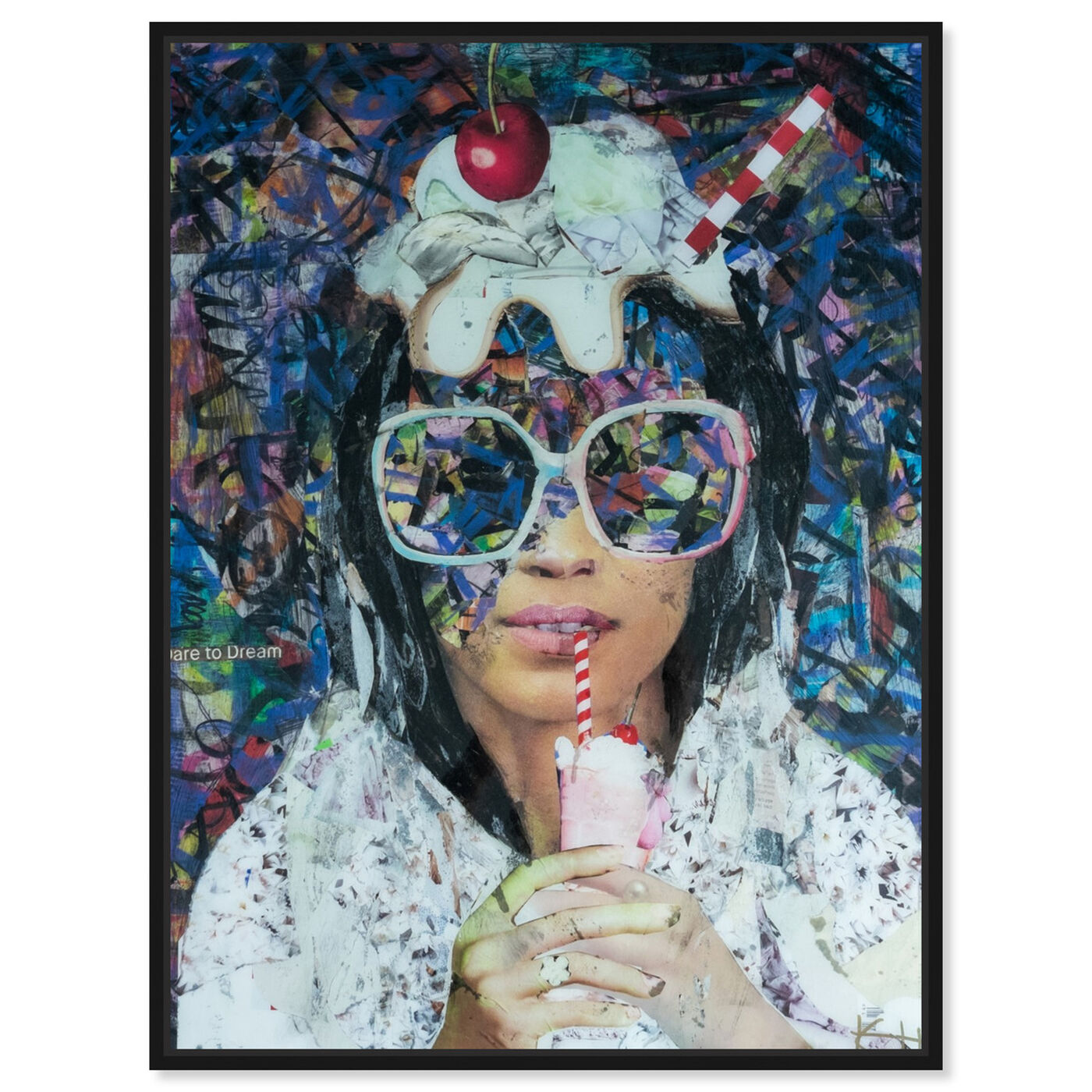 Front view of Milkshake Collage by Katy Hirschfeld featuring fashion and glam and portraits art.