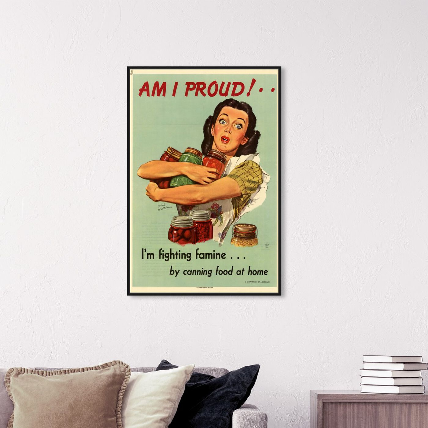Hanging view of I Am Proud featuring advertising and posters art.
