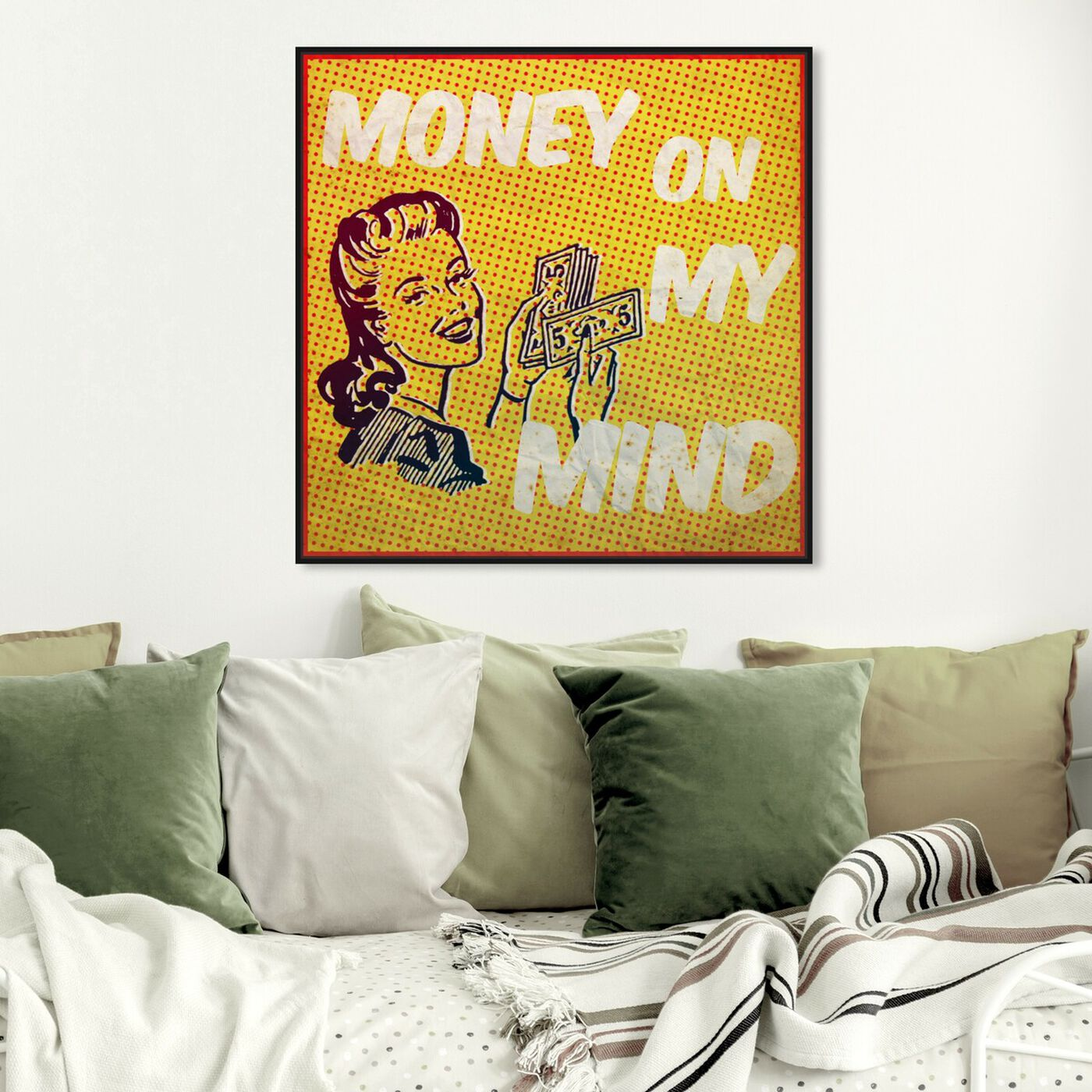 Hanging view of Money on My Mind featuring advertising and comics art.