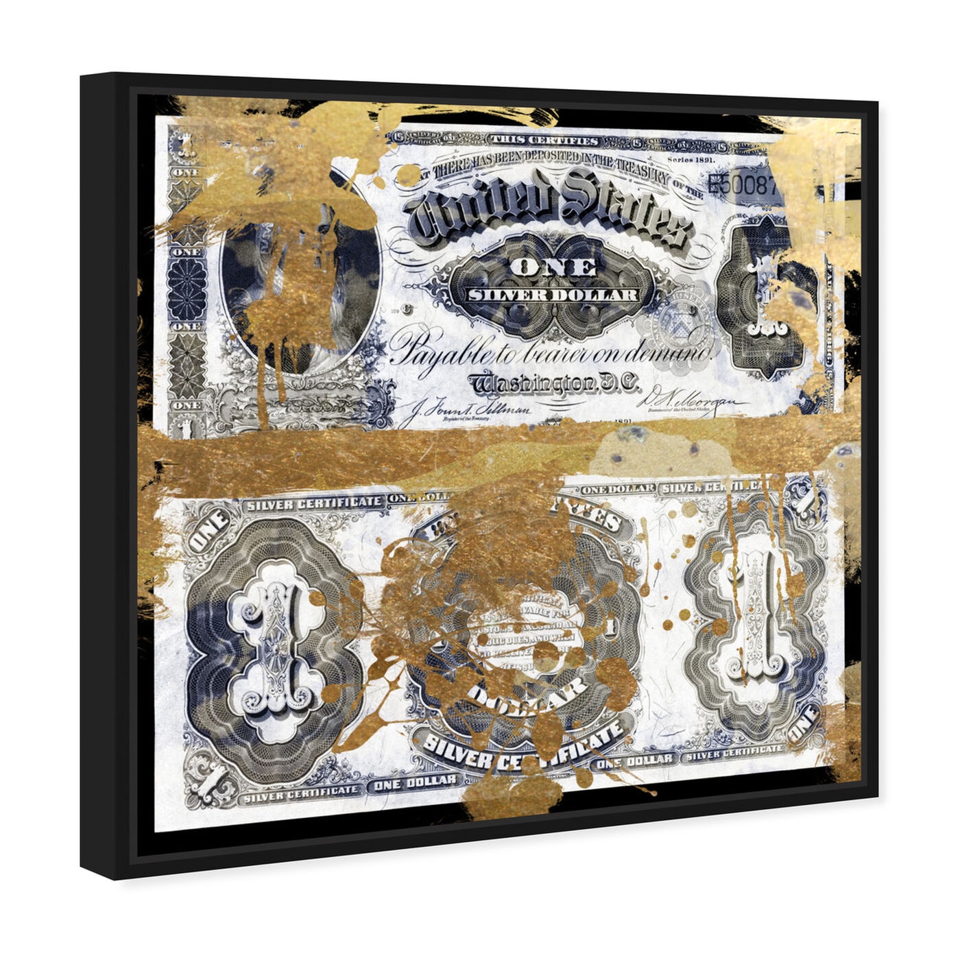 Angled view of Silver Dollar featuring success and entrepreneurial and money art.