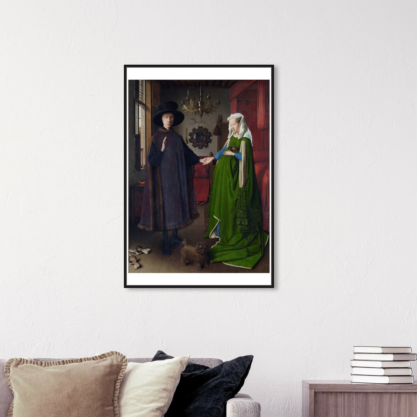 Hanging view of Van Eyck - Arnolfini Portrait featuring classic and figurative and renaissance art.