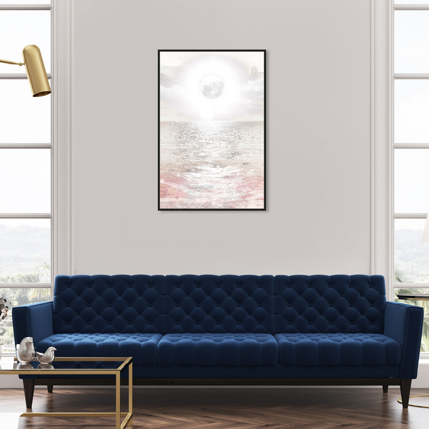 Hanging view of Moonage Lightdream featuring astronomy and space and moons art.