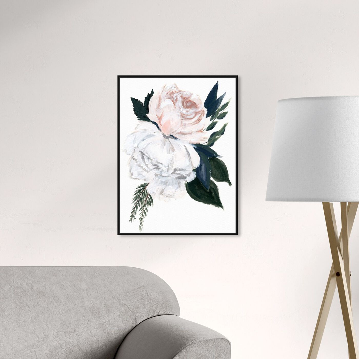 Hanging view of Rustic Peony Bouquet featuring floral and botanical and florals art.