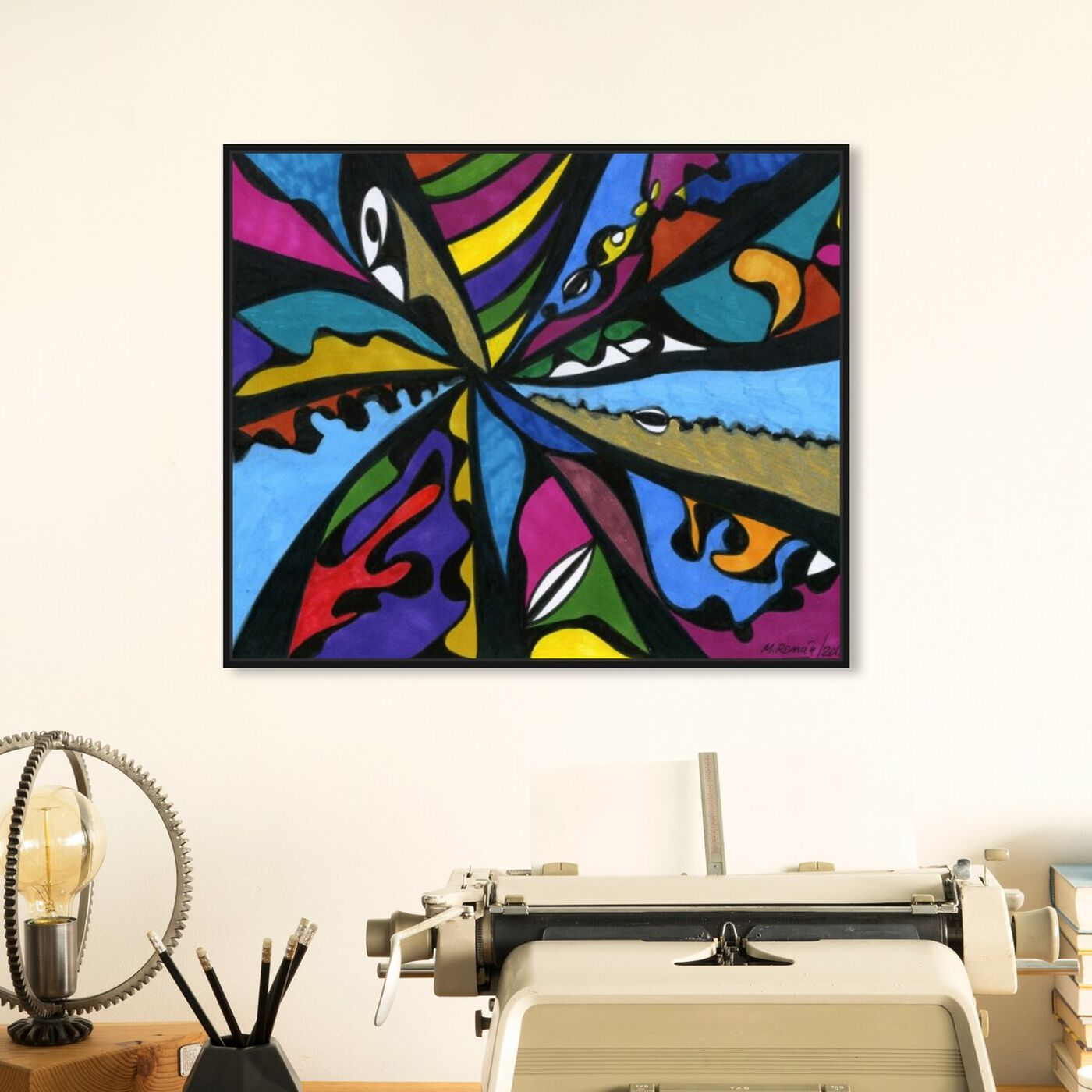Hanging view of Requiem featuring abstract and geometric art.