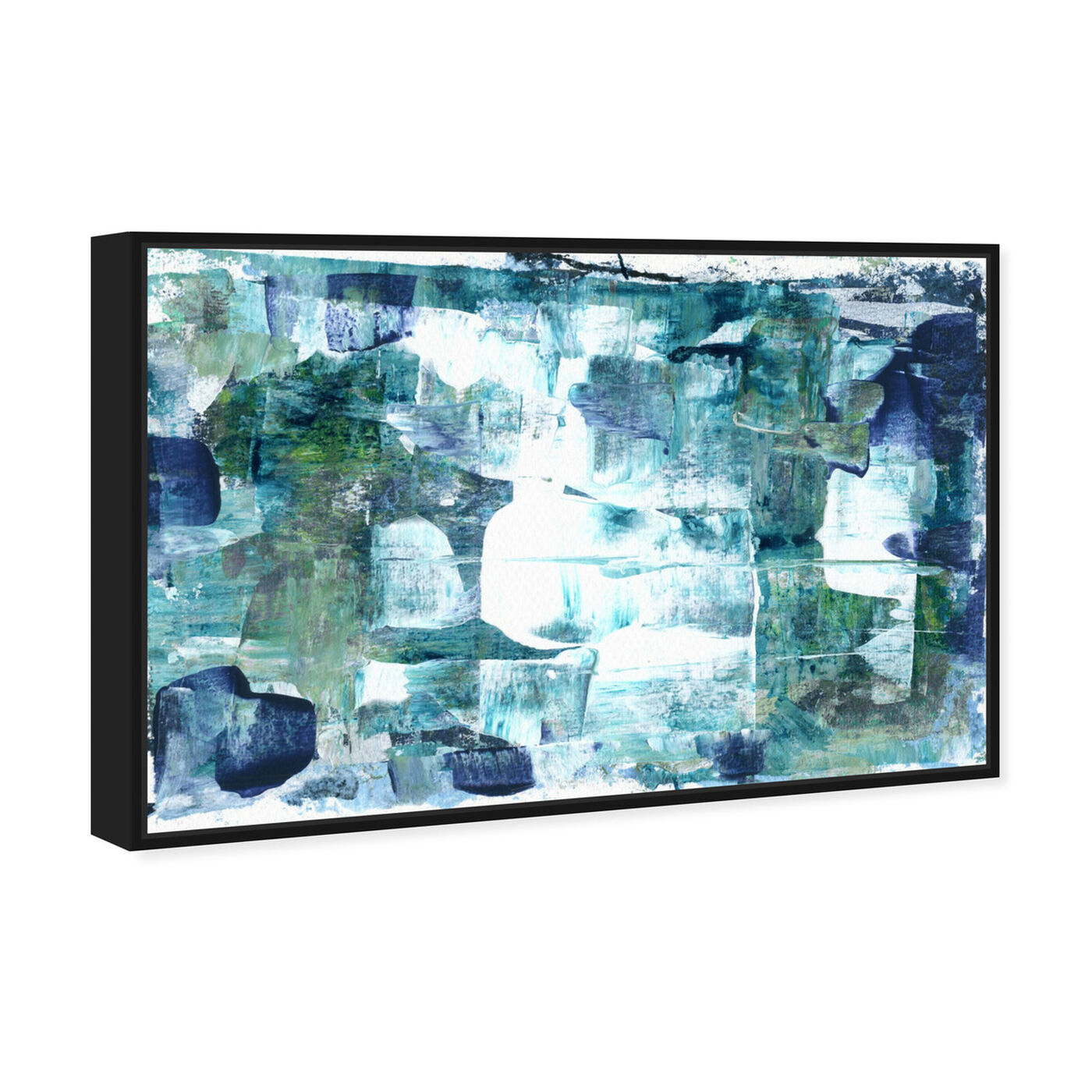 Angled view of Aquamarines - Varnish Embellishment (Matte) featuring abstract and paint art.