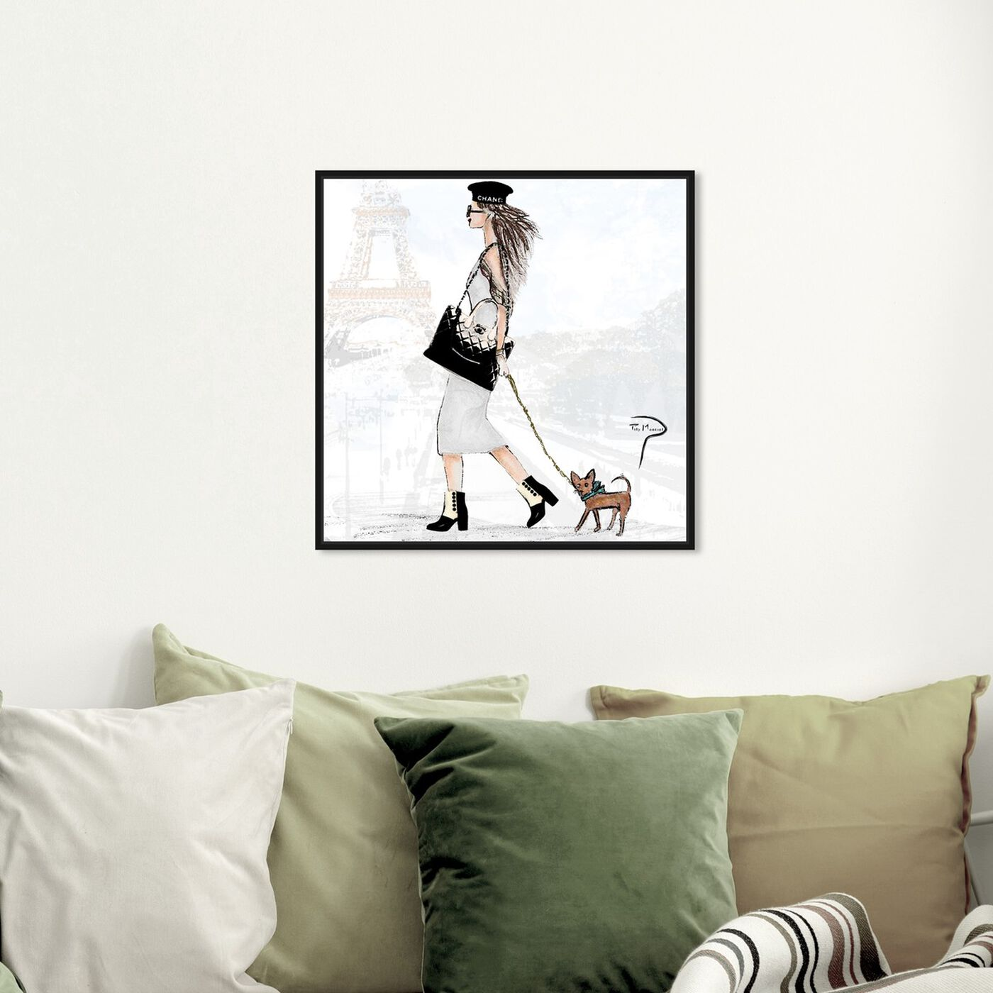 Hanging view of Pily Montiel - National puppy day featuring fashion and glam and outfits art.