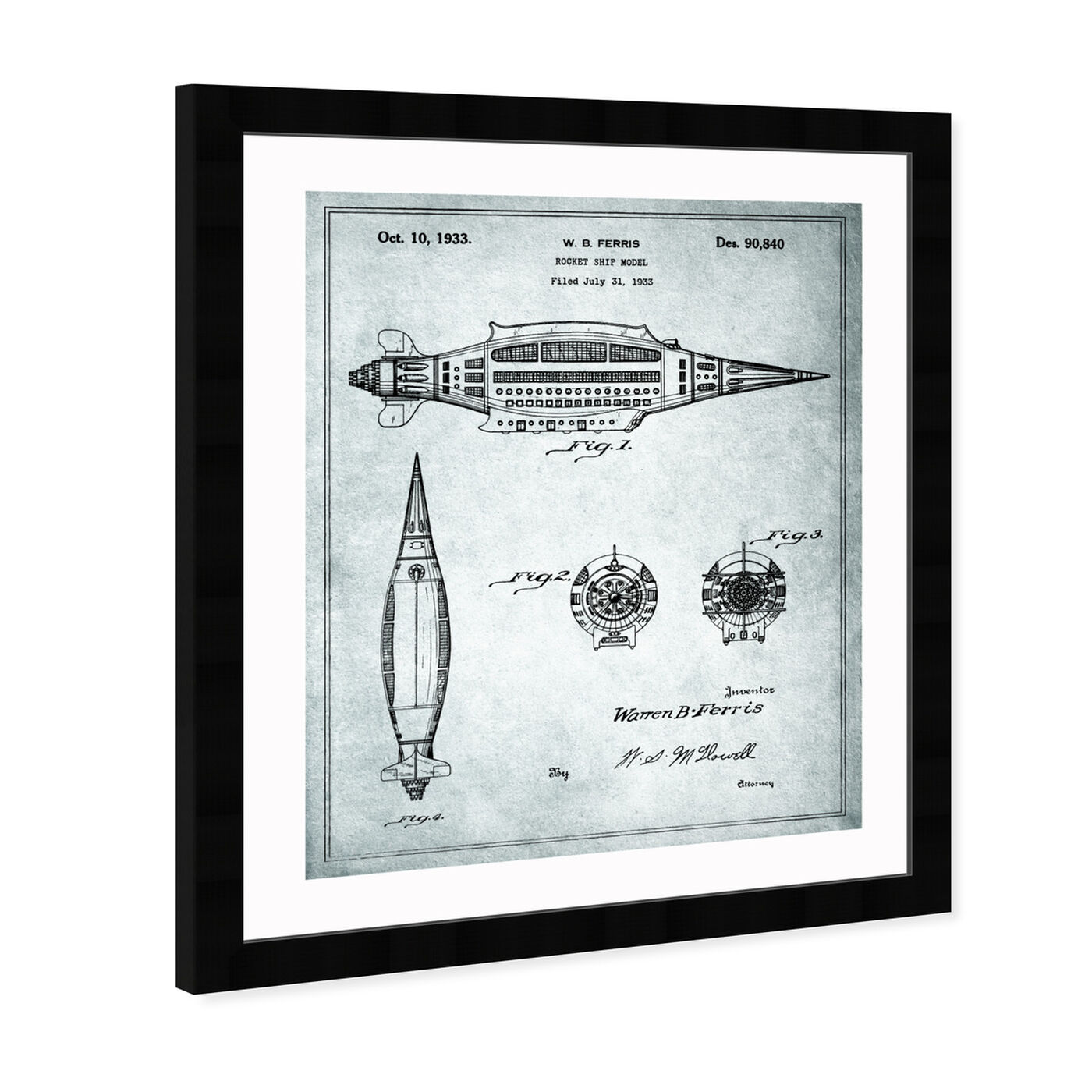 Angled view of Design for a Rocket Ship Model 1933 featuring transportation and air transportation art.