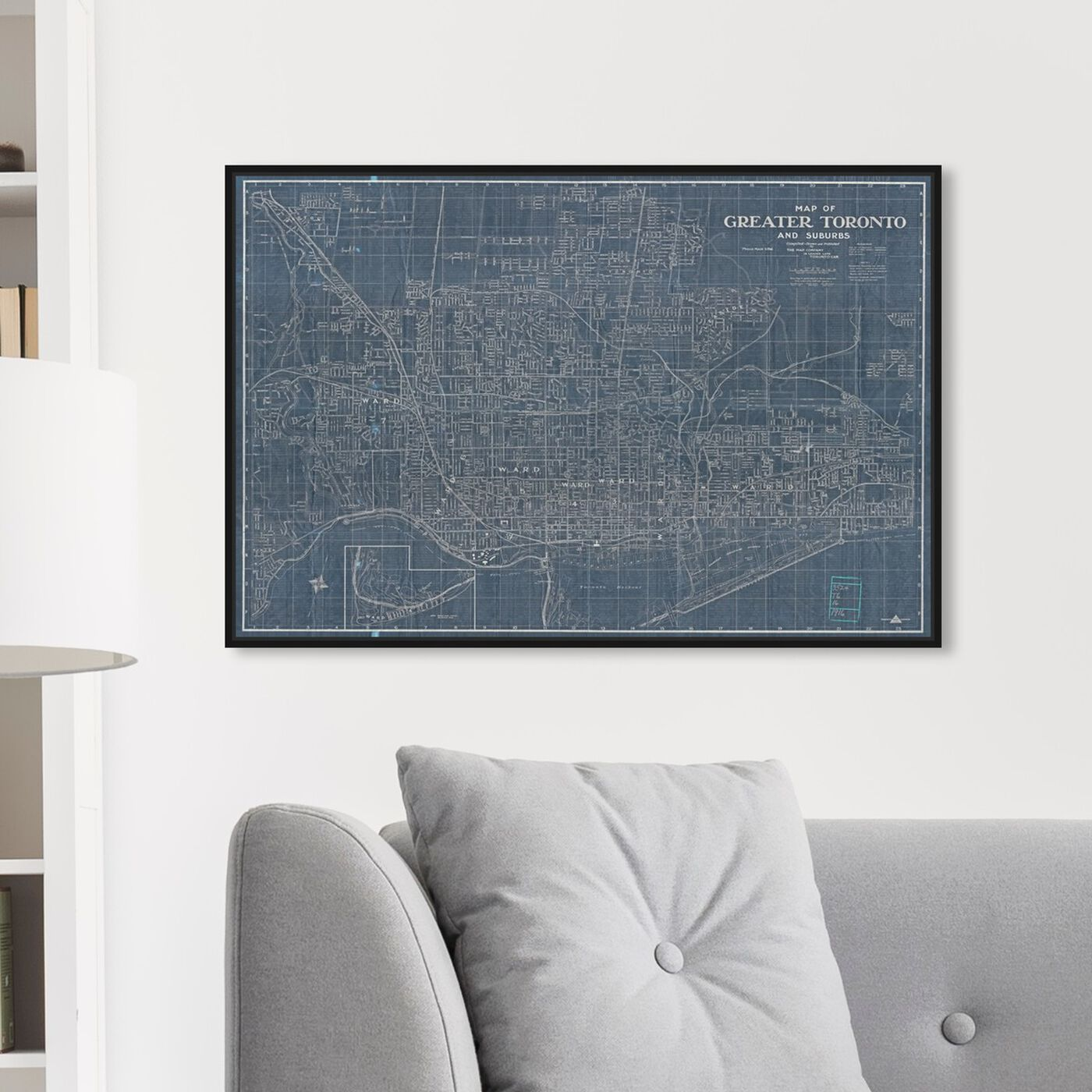 Hanging view of Map of greater Toronto and suburbs 1916 featuring maps and flags and american countries maps art.
