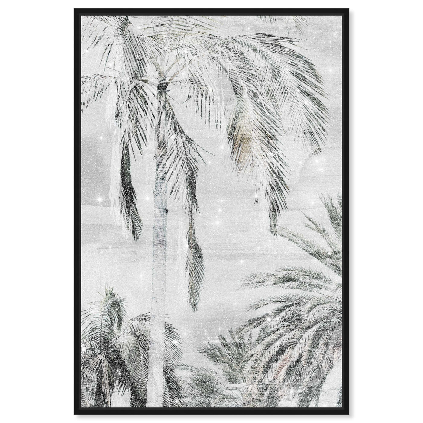 Front view of Palm Trees Neutral Sparkle featuring floral and botanical and trees art.