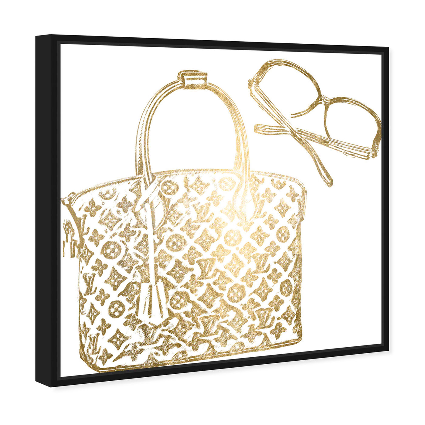 Angled view of Luxe Musts Gold Foil featuring fashion and glam and handbags art.