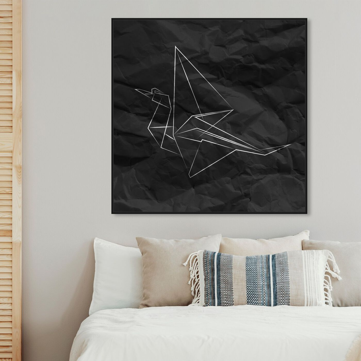 Hanging view of Origami Crane featuring abstract and geometric art.