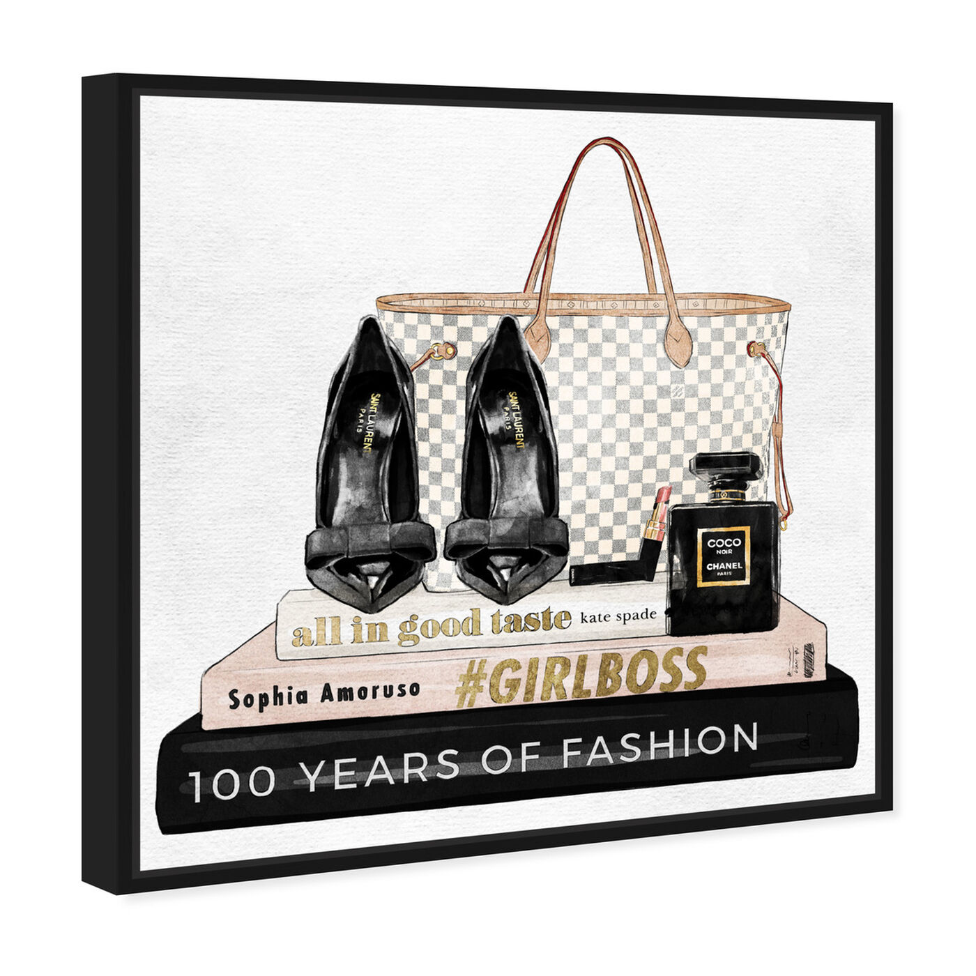 Angled view of Going Out Books featuring fashion and glam and shoes art.