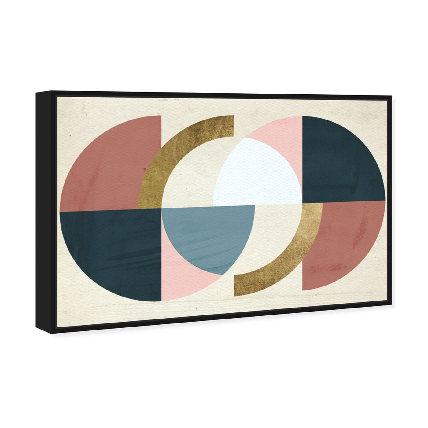 Angled view of Rotating Puzzle Spheres Gold featuring abstract and geometric art.