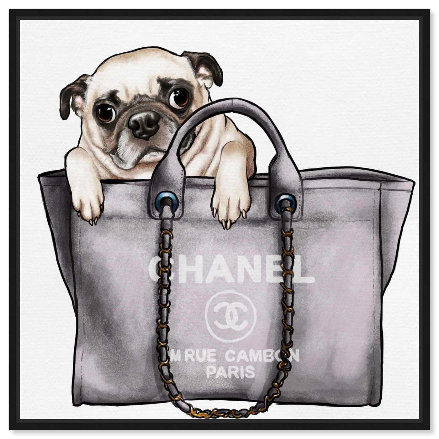 Front view of Pug in the Bag featuring fashion and glam and handbags art.
