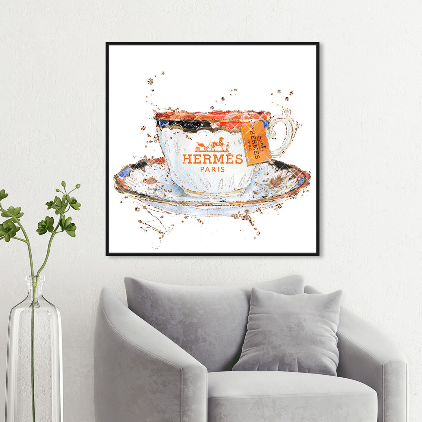 Hanging view of Orange Caramel Tea Cup featuring fashion and glam and fashion lifestyle art.