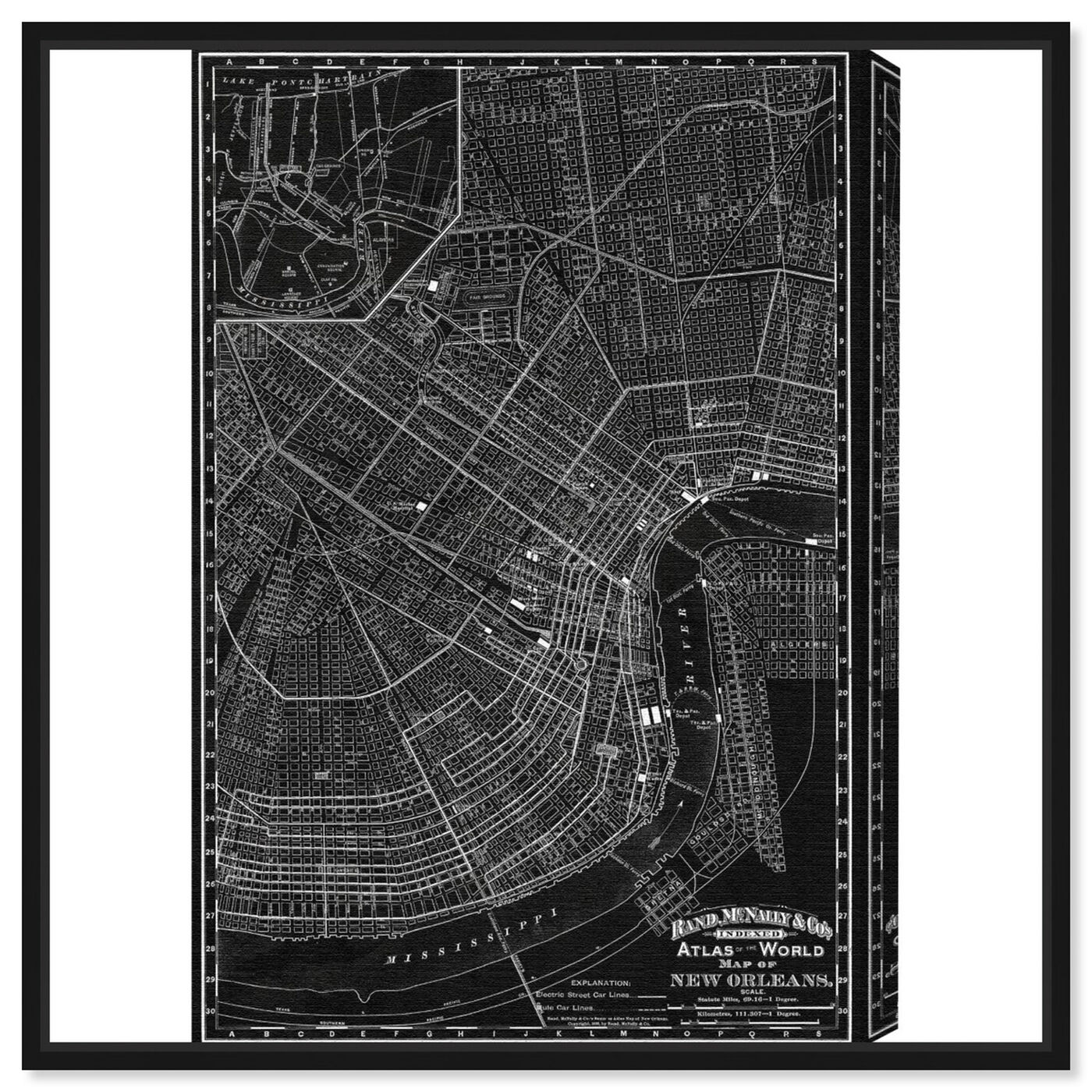 Front view of Map of New Orleans 1897 featuring maps and flags and us cities maps art.