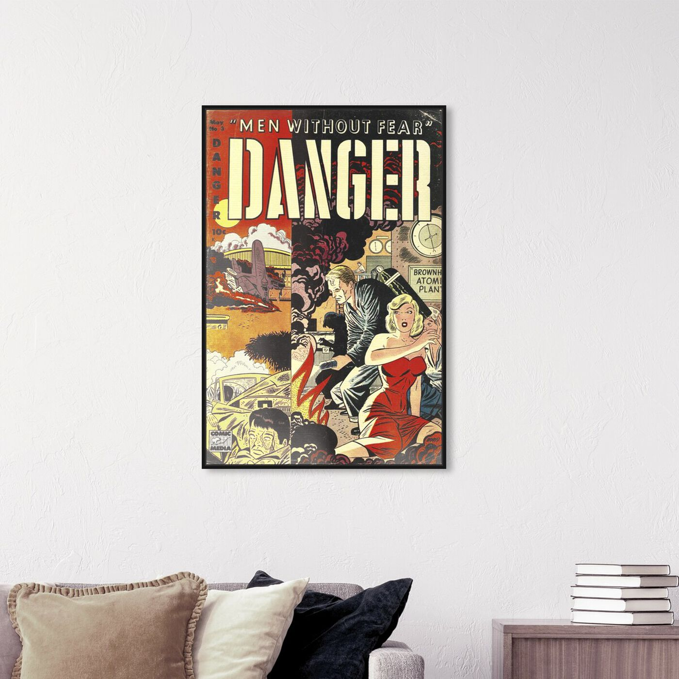 Hanging view of Men Without Fear featuring advertising and comics art.