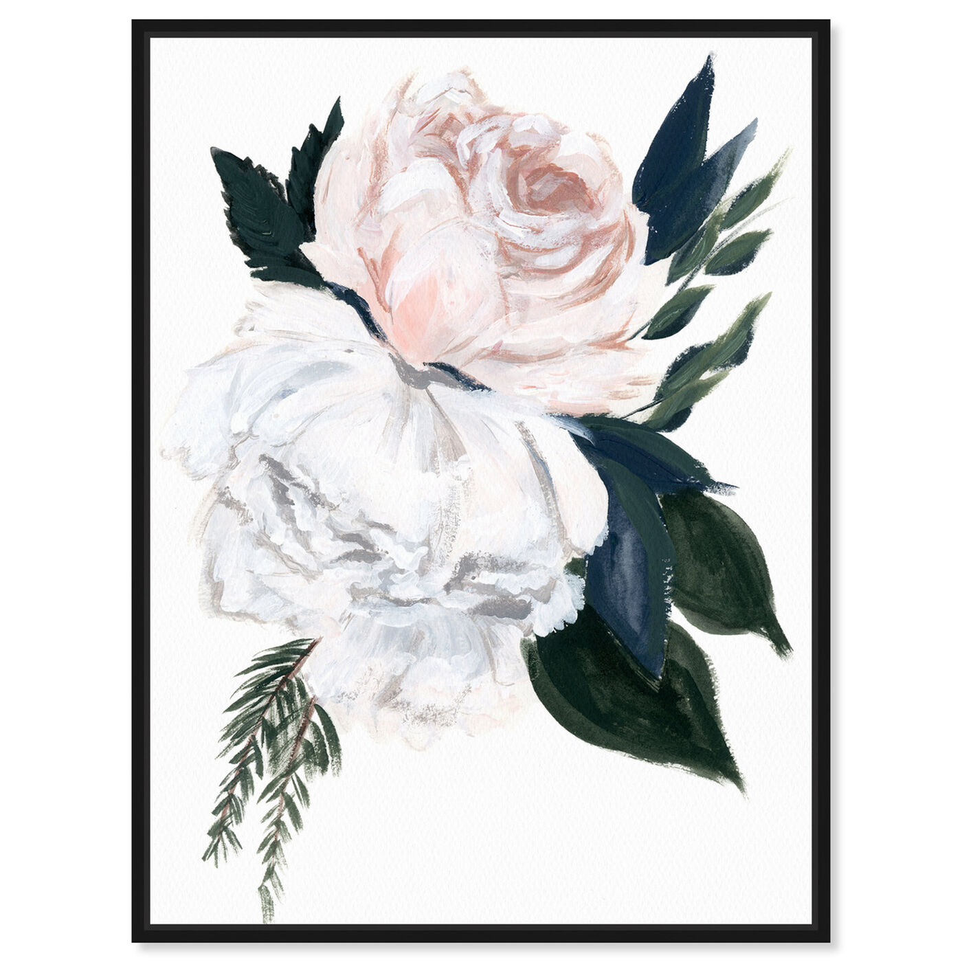 Front view of Rustic Peony Bouquet featuring floral and botanical and florals art.