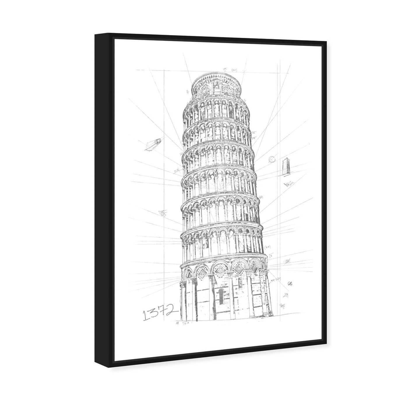 Angled view of Tower of Pisa Silver featuring architecture and buildings and european buildings art.