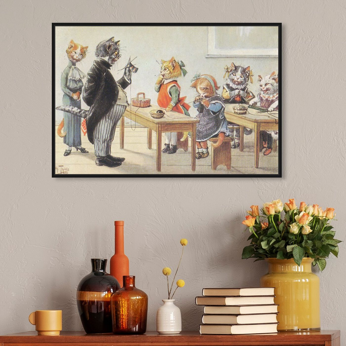 Hanging view of Kittens in the Classroom featuring animals and cats and kitties art.