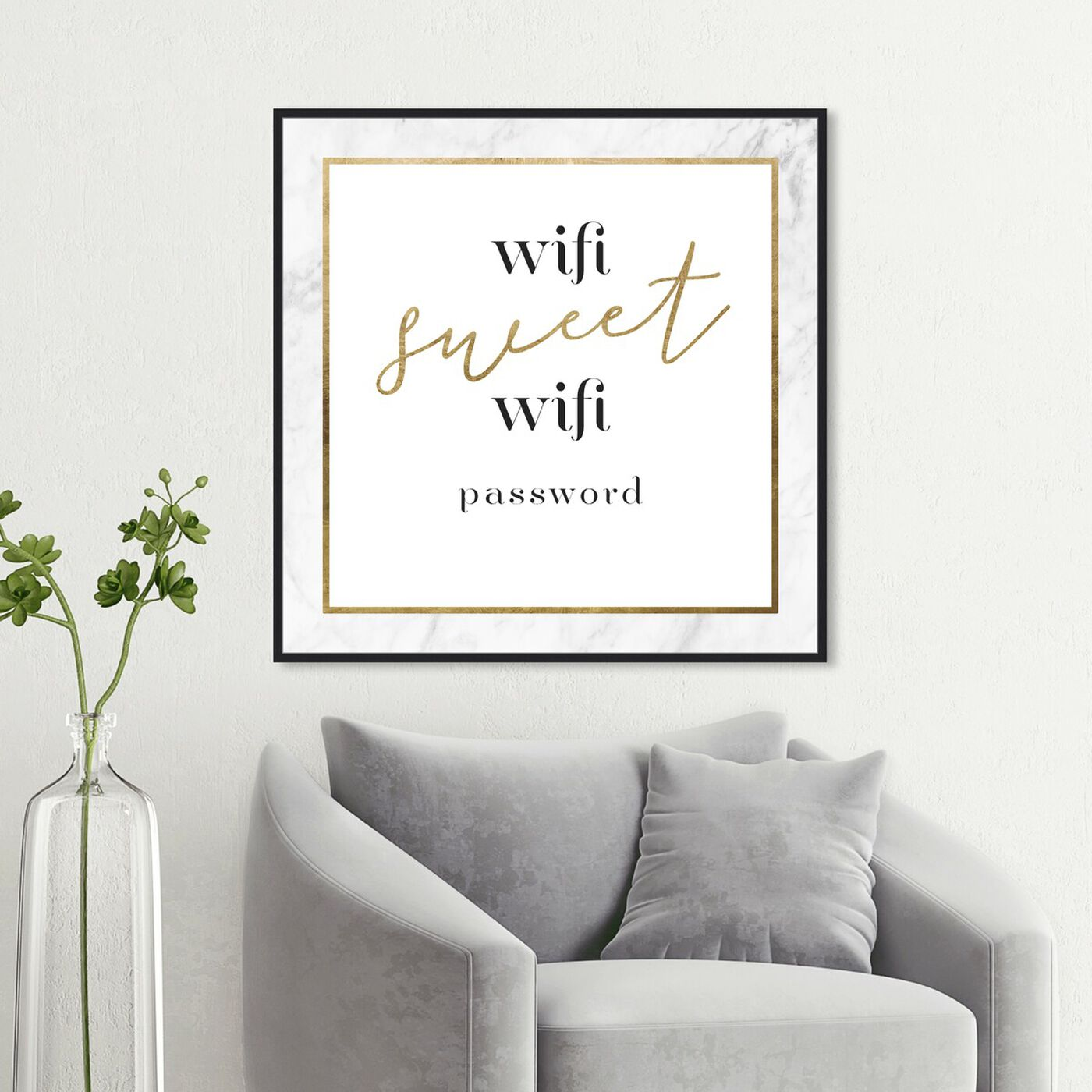 Hanging view of Wifi Sweet Wifi Gold art.