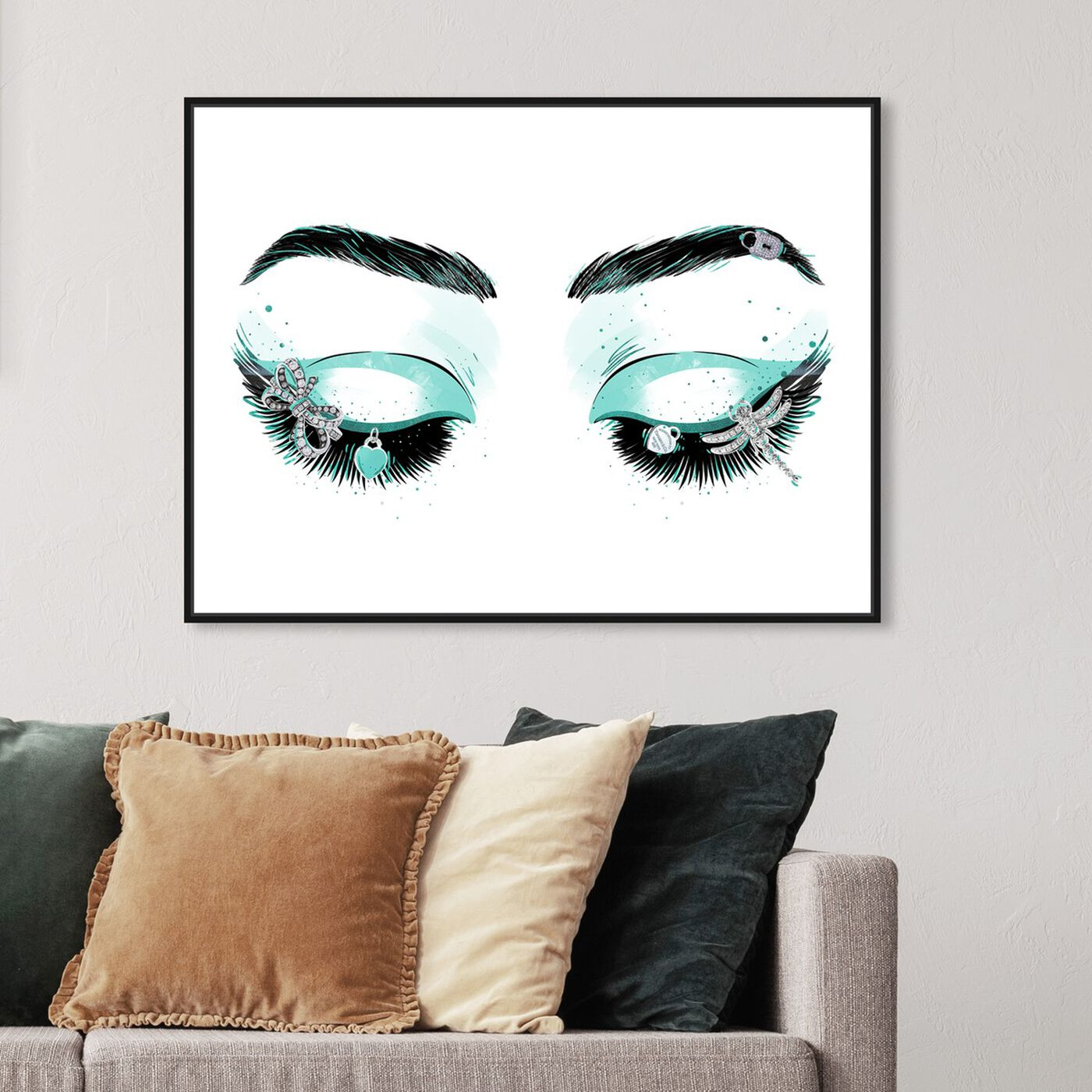 Hanging view of Aqua Glam Eyeshadows featuring fashion and glam and makeup art.