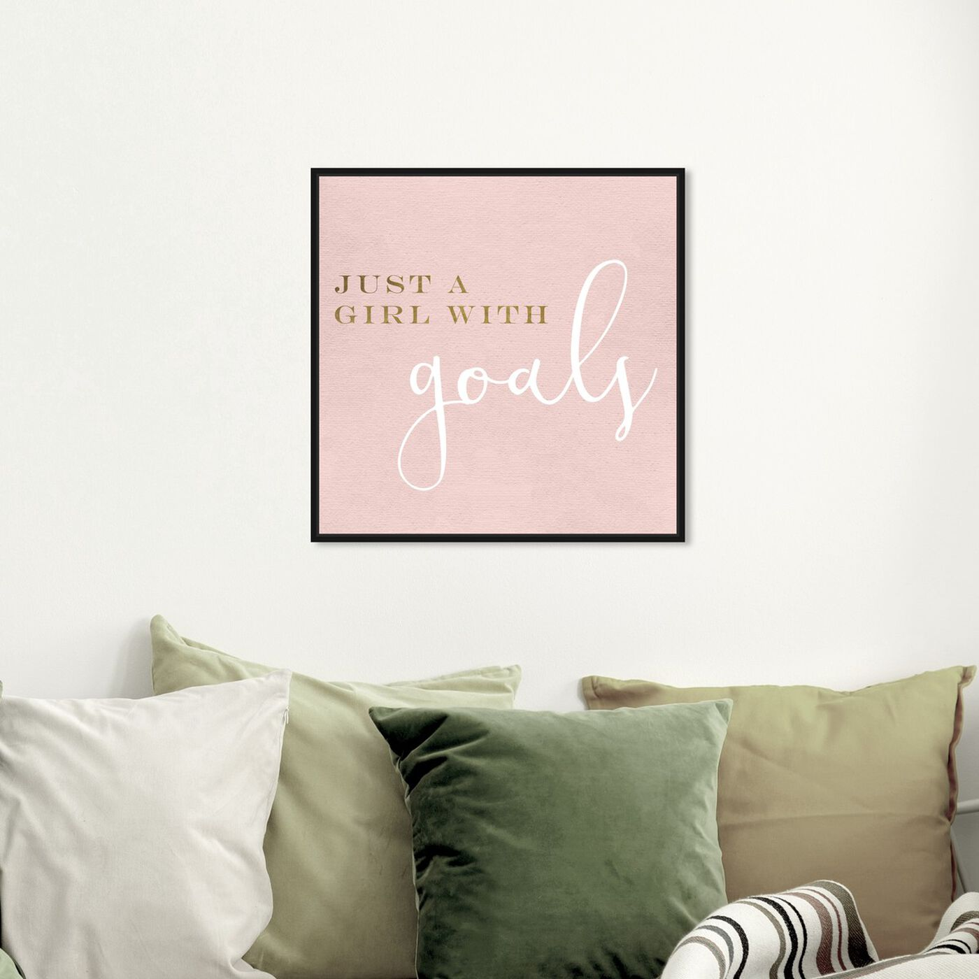Hanging view of A Girl With Goals Blush featuring typography and quotes and empowered women quotes and sayings art.